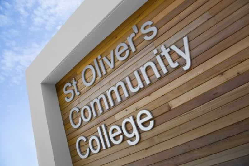 st olivers community college sign